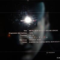 [Trophee] Metal gear solid V :Ground Zeroes 100% PS3+Update trophees MGS